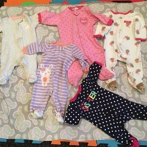 Other - Baby girl clothes, footies 0-3, 3 Months